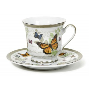 August Grove Cheatom Butterfly Pattern 12 Piece Tea Cup and Saucer Set DEIC2652