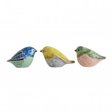 Charlton Home Astaire Stoneware Hand-Painted Bird 3 Piece Figurine Set CHRL6940
