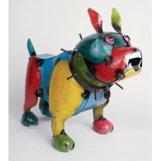 MyAmigosImports Large Recycled Metal Bulldog Statue MYAM1083