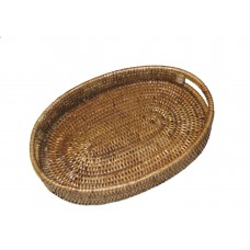 artifacts trading Rattan Oval Tray with Cutout Handles ATIF1100