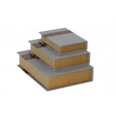 Cole Grey Wood/Fabric Book 3 Piece Decorative Box Set CLRB4032