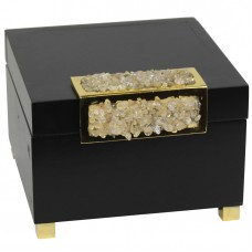 Everly Quinn Black Wood and Glass Decorative Box EYQN2521
