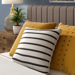 Mercury Row Carnell Mini Stripe Cotton Throw Pillow Cover MCRW4906