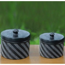 Bloomsbury Market Zebra Swirl 2 Piece Storage Jar Set NVC14776