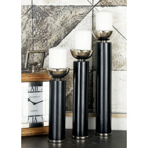 Cole Grey 3 Piece Wood and Aluminum Candlestick Set COGR9976
