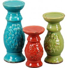 DrewDeRoseDesigns 3 Piece Ceramic Candlestick Set DDRD1063