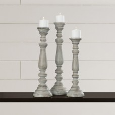 One Allium Way La Sarre 3 Piece Wood Candlestick Set OAWY2693