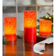 Plow Hearth 3 Piece LED Unscented Flameless Candle Set PLHE3643