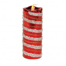 The Holiday Aisle Glitter Striped Flameless LED Christmas Pillar Candle THDA6905
