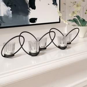 Orren Ellis Interlocking Rings 6 Piece Glass/Metal Votive Holder Set ORNE3021