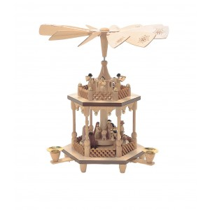 Richard Glaesser 2 Tier Natural Wood Nativity Scene with Angels Pyramid RGR1000