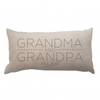 4 Wooden Shoes Grandma and Grandpa with Date Textured Linen Lumbar Pillow FWDS1423