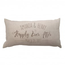 4 Wooden Shoes Happily Ever After Textured Linen Lumbar Pillow FWDS1413