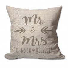 4 Wooden Shoes Personalized Brush Script Mr Mrs Textured Linen Throw Pillow FWDS1625