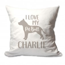 4 Wooden Shoes Personalized I Love My Pit Bull Throw Pillow FWDS1665