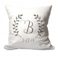4 Wooden Shoes Personalized Initial and Date Laurel Wreath Throw Pillow FWDS1156