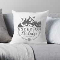 4 Wooden Shoes Personalized Ski Lodge Throw Pillow FWDS1160