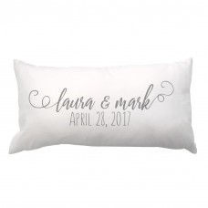 4 Wooden Shoes Script Couple Names and Date Lumbar Pillow FWDS1398