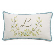 Eastern Accents Magnolia Hand-Painted Monogram Cotton Lumbar Pillow EAN6978