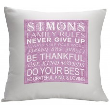 Monogramonline Inc. Personalized Family Rules Decorative Cushion Cover MOOL1042