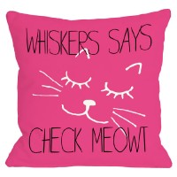 One Bella Casa Personalized Check Meowt Throw Pillow HMW2270