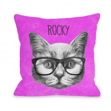 One Bella Casa Personalized Hipster Cat Throw Pillow HMW9543