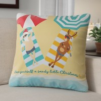 The Holiday Aisle Beach Santa Reindeer Christmas Throw Pillow THLY2628