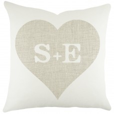 TheWatsonShop Monogram Heart Cotton Throw Pillow WTSN3446
