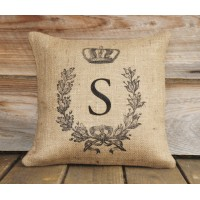 TheWatsonShop Monogram Personalized Burlap Throw Pillow WTSN3444