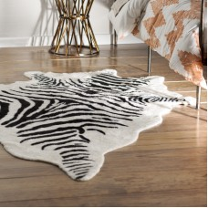 Bloomsbury Market Hermosa Beach Hand-Tufted Faux Cowhide Zebra Black Area Rug BLMK1508
