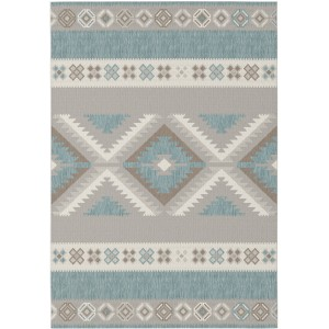 Union Rustic Malone Teal/Gray Indoor/Outdoor Area Rug BX2894