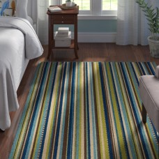 Andover Mills Brendel Blue/Brown Striped Indoor/Outdoor Area Rug ANDV1756