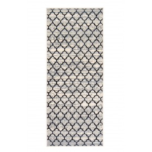 Bungalow Rose Macclenny Lattice Abrash Black/Ivory Area Rug BGRS2107