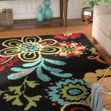 Andover Mills Leopold Black Indoor/Outdoor Rug ANDO6003