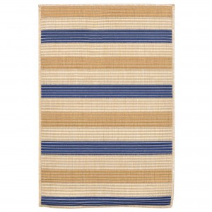Beachcrest Home Larana Stripe Beige/Blue Indoor/Outdoor Area Rug BCHH4963