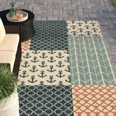 Beachcrest Home Portwood Patchwork Azo Blue/Cream/Coral Indoor/Outdoor Area Rug BCHH7243