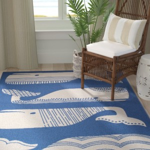 Breakwater Bay Janiyah Patterned Whales Blue/White Indoor/Outdoor Area Rug BKWT2433