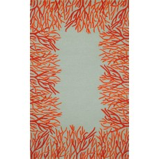 Highland Dunes Bluford Orange Coral Border Orange/Blue Outdoor Area Rug HLDS1057
