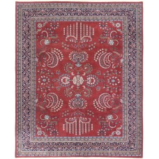Astoria Grand One-of-a-Kind Edda Indo Sarouk Hand-Knotted Wool Rust/Navy Area Rug SDBW1024