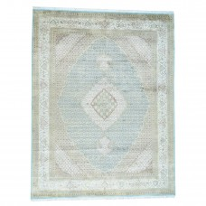 Astoria Grand One-of-a-Kind Mair Pak Tabriz Mahi 300 Kpsi Hand-Knotted Sky Blue/Ivory Area Rug RGRG1171
