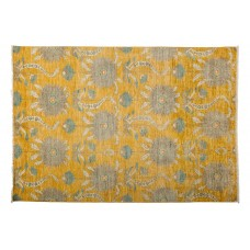 Darya Rugs One-of-a-Kind Eclectic Hand-Knotted Yellow Area Rug DYAR1467