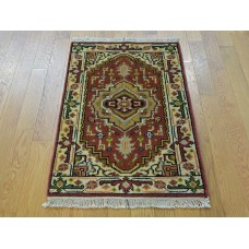 Isabelline One-of-a-Kind Beare Tribal Design Serapi Hand-Knotted Red Wool Area Rug OLRG3132