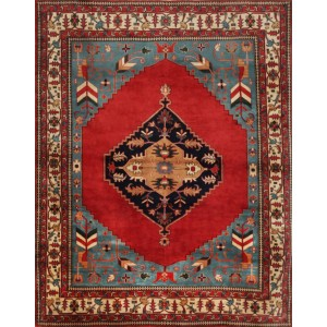 Mansour One-of-a-Kind Serapi Fine Hand-Knotted Wool Red/Blue Indoor Area Rug MNSR1240