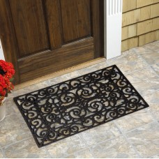 Winston Porter Heffernan Scroll Natural Rubber Doormat VIAI1169
