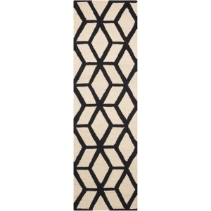 Ivy Bronx Nohemi Hand-Knotted Ivory/Black Area Rug IVYB5804