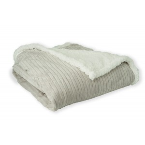 Mi Casa Deco Reverisble Sherpa Fleece Microfiber Throw MCDE1058