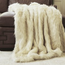 Wild Mannered Iced Fox Faux Fur Throw Blanket WIMA1008