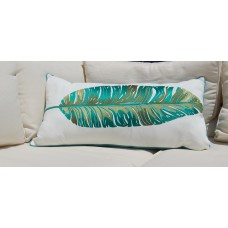 Bayou Breeze Drucilla Banana Leaf Palm Embroidered Outdoor Throw Pillow BBZE1714