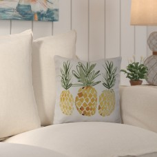 Beachcrest Home Thirlby 3 Pineapples Outdoor Throw Pillow BCMH1049