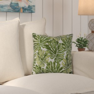 Beachcrest Home Thirlby Palm Leaves Outdoor Throw Pillow BCMH1001